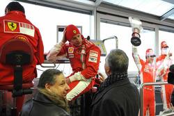 Kimi Raikkonen, Jean Todt and Piero Ferrari