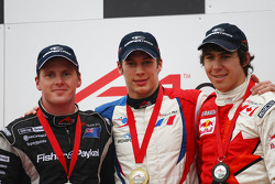 2nd place Jonny Reid, driver of A1 Team New Zealand with Loic Duval, driver of A1 Team France and Robert Wickens, driver of A1 Team Canada