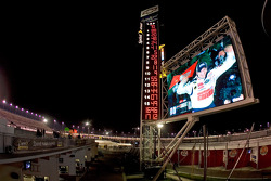 Victory lane: race winner Dale Earnhardt Jr. celebrates on the giant screen
