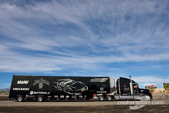 The Jim Beam team hauler makes its' way into the Las Vegas Motor Speedway