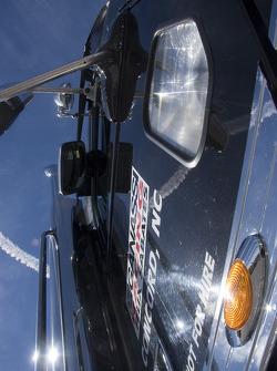 Dario Franchitti's hauler awaits outside to enter the Las Vegas Motor Speedway