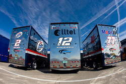 The Team Penske team haulers makes its' way into the Las Vegas Motor Speedway