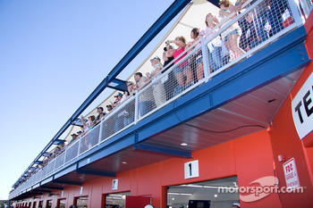 Fans watch over the garage area