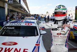Andy Priaulx, BMW Team UK, BMW 320si WTCC, celebrates 2nd position in race 2