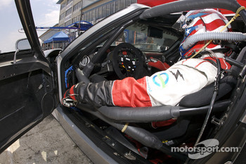 David Robertson sits in the Robertson Racing Doran Ford GT-R