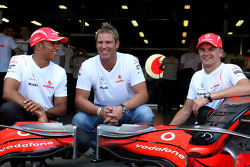 Shane Warne, Former Australian International Cricket player, Lewis Hamilton, McLaren Mercedes, Heikki Kovalainen, McLaren Mercedes