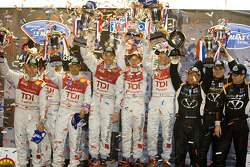 P1 podium: class winners Rinaldo Capello, Tom Kristensen and Allan McNish, second place Lucas Luhr, Mike Rockenfeller and Marco Werner, third place Jon Field, Clint Field and Richard Berry