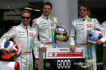 Rubens Barrichello, Honda Racing F1 Team, Alexander Wurz, Test Driver, Honda Racing F1 Team and Jenson Button, Honda Racing F1 Team