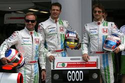 Rubens Barrichello, Honda Racing F1 Team, Alexander Wurz, Test Driver, Honda Racing F1 Team and Jenson Button, Honda Racing F1 Team