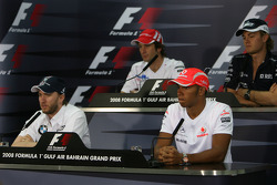 FIA press conference: Jarno Trulli, Toyota Racing, Nico Rosberg, WilliamsF1 Team, Nick Heidfeld, BMW Sauber F1 Team and Lewis Hamilton, McLaren Mercedes