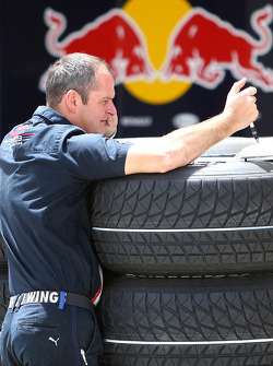 Red Bull Racing team member at work