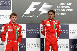 Podium: race winner Felipe Massa, second place Kimi Raikkonen