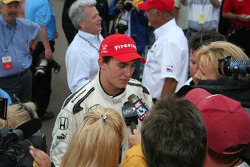 Graham Rahal is interviewed by the media