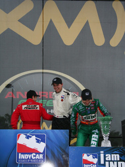 Helio Castroneves and Tony Kanaan joke with Graham Rahal