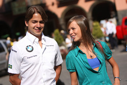 Parade in the city of Puebla with teams and drivers, Augusto Farfus, BMW Team Germany, BMW 320si and his wife Liri