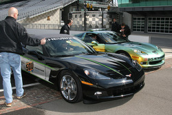 The two Chevrolet Corvette Pace Cars for the 92nd Indianapolis 500, the 30th Anniversary Commemorative Edition, left, and the E85 concept car