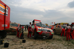 Team Repsol Mitsubishi Ralliart service area in Veszprem