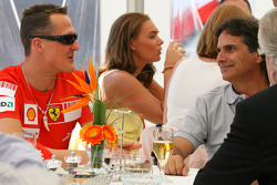 Michael Schumacher, Test Driver, Scuderia Ferrari with Nelson Piquet Snr.