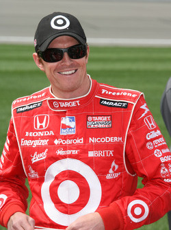 Pole winner Scott Dixon celebrates