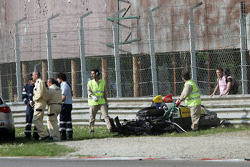 Aftermath of Stéphane Ortelli's violent crash