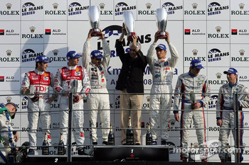 LMP1 podium: class and overall winners Pedro Lamy and Stphane Sarrazin, second place Alexandre Prmat and Mike Rockenfeller, third place Christophe Tinseau and Harold Primat