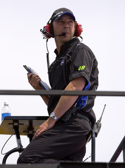 Crew Chief, Chad Knauss, watches his car