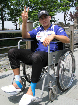 Jorge Lorenzo in a wheelchair