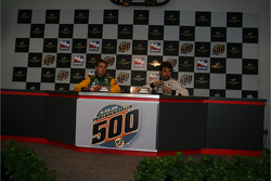 Will Power and Oriol Servia in a press conference after rookie orientation on opening day