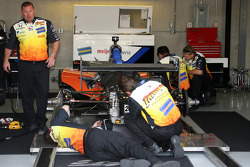 Marco Andretti's No. 26 car gets adjustments in the garage area