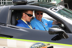 Indianapolis Colts Defensive Back, Brannon Condren, gets a pace car ride from Johnny Rutherford