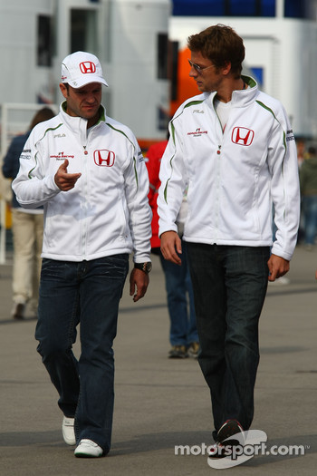 Rubens Barrichello, Honda Racing F1 Team and Jenson Button, Honda Racing F1 Team