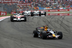 David Coulthard, Red Bull Racing leads Jarno Trulli, Toyota Racing