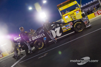 The Jack Daniels crew push their car towards the frontstretch before the start of the NASCAR Sprint All-Star race