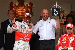 1st place Lewis Hamilton, McLaren Mercedes with Ron Dennis, McLaren, Team Principal, Chairman and Felipe Massa, Scuderia Ferrari