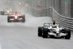 Jenson Button, Honda Racing F1 Team leads Giancarlo Fisichella, Force India F1 Team