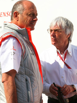 Ron Dennis, McLaren, Team Principal, Chairman and Bernie Ecclestone, President and CEO of Formula One Management