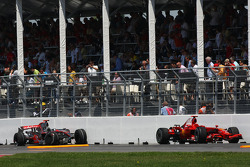 The crash damaged cars of Kimi Raikkonen, Scuderia Ferrari and Lewis Hamilton, McLaren Mercedes