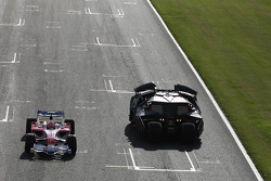 Timo Glock, Toyota F1 Team, driving alongside the