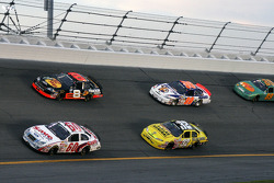 Carl Edwards and Kerry Earnhardt lead a group of cars