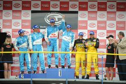 GT1 podum: class and overall winners Karl Wendlinger and Ryan Sharp, second place Lukas Lichtner-Hoyer and Alex Müller, and third place Marcel Fassler and Jean-Denis Deletraz