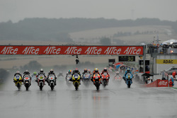 Start: Andrea Dovizioso, Colin Edwards, Dani Pedrosa and Casey Stoner battle for the lead
