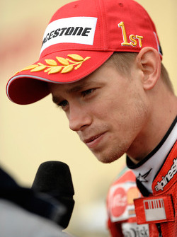 Post-race interviews for race winner Casey Stoner
