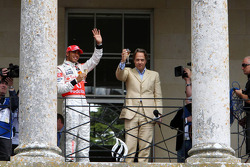 Lewis Hamilton, McLaren Mercedes on the balcony of Goodwood house with Lord March