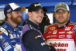 Dale Earnhardt Jr., Hendrick Motorsports Chevrolet, Denny Hamlin, Joe Gibbs Racing Toyota and Ryan Newman, Richard Childress Racing Chevrolet