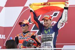 Podium: second place Marc Marquez, Repsol Honda Team and Winner and 2015 World Champion Jorge Lorenzo, Yamaha Factory Racing