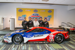 Chip Ganassi Racing Ford GTLM drivers for IMSA and Le Mans: Dirk Müller, Joey Hand, Richard Westbrook and Ryan Briscoe with Edsel Ford II