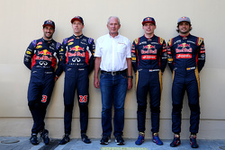 Daniel Ricciardo and Daniil Kyvat, Red Bull Racing and Dr. Helmut Marko and Max Verstappen and Carlos Sainz Jr., Scuderia Toro Rosso