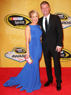 Clint Bowyer, Michael Waltrip Racing Toyota with wife Lorra