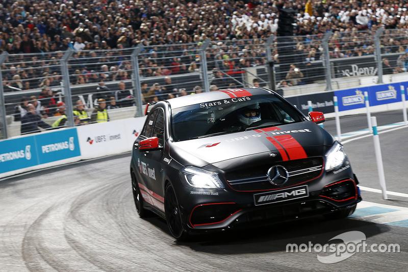 Mika Hakkinen drives an A-Class