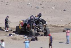 #314 Peugeot: Sèbastien Loeb, Daniel Elena after their crash